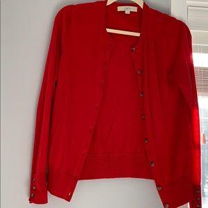 Women's LOFT Red Cardigan